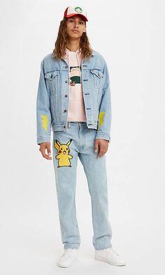 Levi's® X Pokémon 551z™ Authentic Straight Jeans - Light Indigo   Levi's® DE Pokemon Stones, Levis Shop, Jeans, Straight Guys, Indigo, Overalls, Collection, Denim, Celebrities