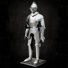 The development of plated armor was a boon to knights and soldiers across Europe. Windlass Sword carries suits of armors that are based on famous and valiant knights, such as Duke of Burgundy and many more. Burgundy Suit, Suit Of Armor, Duke, Sword, Armour, Batman, Suits, Superhero, History