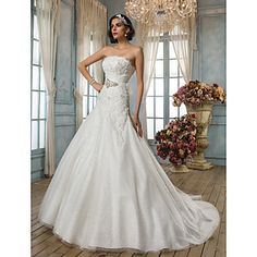 A-line/Princess Strapless Kapel Train Kant Wedding Dress – EUR € 386.81