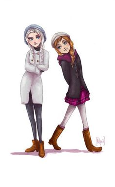 If Elsa and Anna lived in modern days, they'd probably look like this. Illustration by Rilguia
