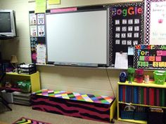 Bench beneath Smartboard for younger students to be able to reach easier.