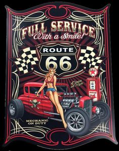 Click to find out more about Full Service With A Smile Route 66 Sign