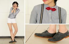 Forever 21 Red Diamond Bow Tie, Blue Suede Brogues, Suspenders, White Shorts, Ray Ban Glasses