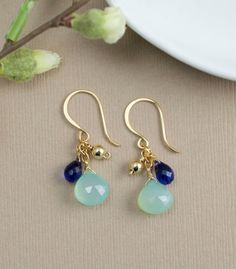 Aqua Chalcedony Earrings Blue Quartz Gold Fill by BlueRoomGems, $50.00