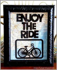 enjoy the ride map art, crafts, decoupage http://www.hometalk.com/3801703/enjoy-the-ride-map-art