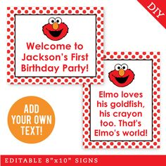 Elmo Sesame Street, Sesame Street Birthday, First Birthday Parties, First Birthdays, Elmo World, Water Party, Construction Party, Party Signs, Party Shop