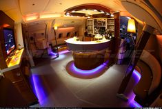 Emirates A380 bar at the back of the business class section