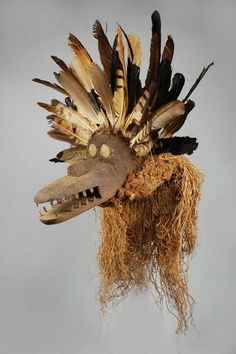 """Rare Ejagham Mask Of The Basinjom Cul. According to Robert Farris Thompson (African Art in Motion) the Basinjom cult is one of the two most important cults of the upper Cross River. """"Basinjom"""" means """"the spirit brought by God"""" in Ejagham. The mask is the embodiment of this spirit, guided by the goodwill and power of God."""