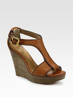 Chloé, Leather T-Strap Platform Wedge Sandals