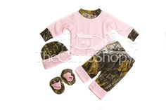 Pink Shirt, Pants, Hat and Booties-Mossy Oak Camo Trim - Girls Camo Newborn - 24 Months - Girl's Camouflage Clothing - Baby & Kids