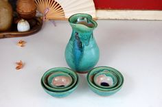 San San Kudo Sake Set in Turquoise  Made to Order by pagepottery, $78.00