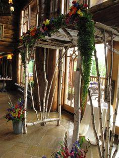 birch chuppah at Whiteface Lodge