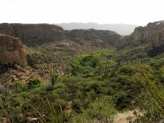 View from south of Boyce Thompson Arboretum State Park in Arnett Canyon, Arizona looking east toward Superior, Arizona
