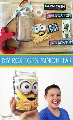 DIY Box Tops Minion Jar