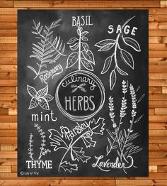 Kitchen Art - Kitchen Print - Culinary Herbs Print - Kitchen Chalkboard Art - Chalk Art- Hand Drawn Art Kitchen Art Kitchen Print Culinary Herbs Print by LilyandVal Kitchen Chalkboard, Chalkboard Print, Chalkboard Lettering, Chalkboard Designs, Chalkboard Drawings, Summer Chalkboard Art, Kitchen Prints, Kitchen Art, Kitchen Decor
