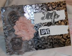 Life Love & Happily Ever After JCC0001 by junkjourney on Etsy, $4.955 x 7 greeting card for engagement, wedding or anniversary.   Shabby torn fabric roses adorn the front of the black and silver glossy card. White torn handmade (not by me!) paper is large enough for you to convey your personal greeting. Layers of charcoal glitter and embossed pink card stock serve as the backdrop.   Comes with a coordinating paper- lined envelope.