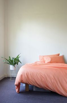 Home Ideas - Home Decor // Apricot Bamboo Duvet Cover by Ettitude. Bedroom Inspo, Home Decor Bedroom, Bedroom Interiors, Bedroom Ideas, Master Bedroom, Bedroom Paint Colors, Room Colors, Autumn Interior, House Beds