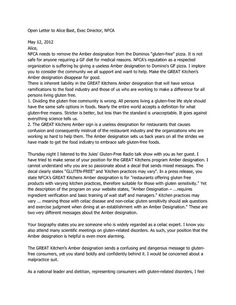 Gluten Intolerance Group (GIG) posted this Open Letter to Alice Bast, of NFCA, to their Facebook Page on 5/13/12.