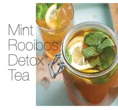 Detoxifying Iced Mint Rooibos Tea | Beauty Bets  Iced Rooibos Mint Tea 6 rooibos tea bags One lemon, sliced Handful fresh mint leaves Stevia to taste 1 gallon of boiling water  Pour water over lemon, teabags and mint leaves and steep, stirring occasionally, until liquid cools. Remove tea bags, pour into a pitcher, and refrigerate. Serve chilled or over ice. Serves 8.
