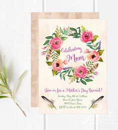 Mother's Day Brunch Invitations - Floral Wreath and Feathers