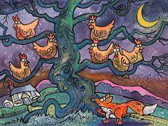 Out Foxed! Modern Cross Stitch, Cross Stitch Kits, Cross Stitch Patterns, English Artists, My Animal, Animal Paintings, Folk Art, Tapestry, Black And White