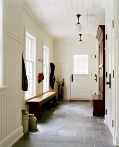 White Beadboard Mudroom Ceiling Design Ideas, Pictures, Remodel and Decor Home Renovation, Floor Design, House Design, Wainscoting Hallway, Ceiling Beadboard, Wainscoting Nursery, Wainscoting Kitchen, Painted Wainscoting, Wainscoting Styles