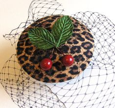 Leopard Print cocktail hat  Cherry cocktail hat  by talulahblue