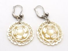 Carved Mother of Pearl & Sterling Silver Earrings, Flower Design Dangle Earrings, Handcrafted Vintage Bridal Jewelry at