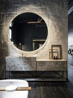 The first Melbourne Boffi De Padova Studio has opened, transforming a former gospel hall into a peaceful space that crafts an experience of tranquility. Bathroom Mirror Design, Bathroom Interior Design, Modern Bathroom, Melbourne, Latest Bathroom Designs, Boffi, Restroom Design, Tadelakt, Ceiling Design