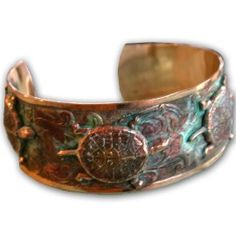 Four Box Turtles On A Solid Brass Cuff With A Subtle Floral Design In Our  Signature