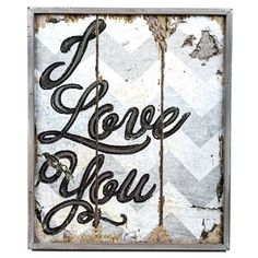 Distressed Chevron I Love You Sign