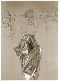 Image result for alphonse mucha figure drawing