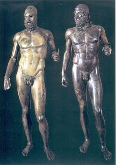 Riace Warriors. These bronzes are from the early Classical Period and are a fine example of contrapposto - the statues have more realistic stances than earlier Archaic pieces. The Bronze statues were rescued from the sea off the coast of Southern Italy in 1972. (left) Bronze B - 430-420 BC. Possibly a Corinthian. (right) Bronze A - 460-450 BC. Probably an Athenian.