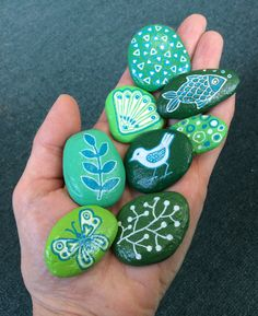 Painted rocks in shades of green set of eight by AlisonsArt