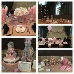 Pink and Grey Baby Shower - Chevron & Elephant theme. Diaper bouquet, diaper mom cake, diaper guitar dad cake, cotton candy centerpieces, candy bar, shower balloon decoration