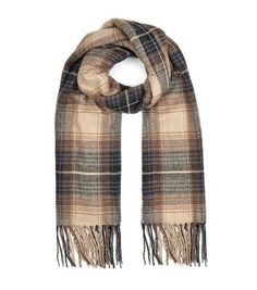 Stone Check Fringed Scarf