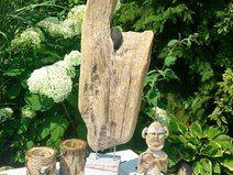 "Innen Treibholz Skulptur ""Steinschluss"" handmade"