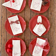 Pennywise Projects: Handmade Holiday Napkins          Whether you want to whip up a last-minute gift or adorn your own kitchen for the holidays, these versatile embroidery designs add a homemade touch to ordinary dinner napkins.