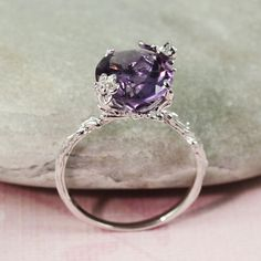 I wish this came in larger sizes because I LOVE it! Sterling Silver Oval Amethyst Ring by tooriginal, $68.00