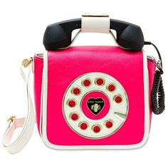 Betsey Johnson Fushia Hotline Telephone Crossbody Bag ($68) ❤ liked on Polyvore featuring bags, handbags, shoulder bags, fushia, crossbody purse, pink purse, pink crossbody purse, cellphone purse and betsey johnson purses
