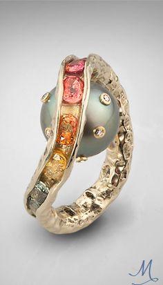 German Kabirski - 14Kgold, diamonds, sapphires & pearl