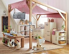 Things That Belong In Your Child's Dream Room I love the Pottery Barn Kids Farmers Market Playroom on A dream for all little girls no?I love the Pottery Barn Kids Farmers Market Playroom on A dream for all little girls no? Pottery Barn Kids, Pottery Barn Playroom, Casa Kids, Playroom Design, Playroom Ideas, Kid Playroom, Indoor Playroom, Waldorf Playroom, Playroom Decor