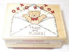 Teddy bear rubber stamp D915 Hero Arts Hugs And Kisses by Mail Mountedvtg  90s #HeroArts #ValentinesDayTeddybears