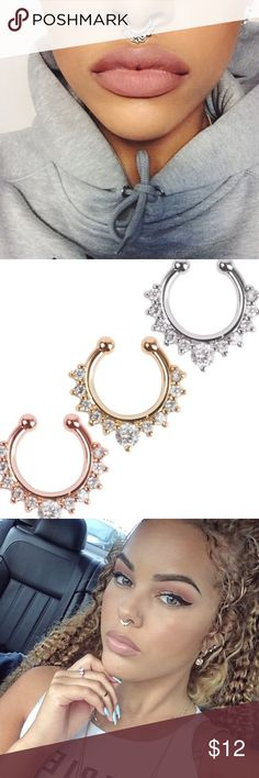 """9.5mm 16G 316L Surgical Steel Hinged Septum Clicker Left Heart 3//8/"""""""