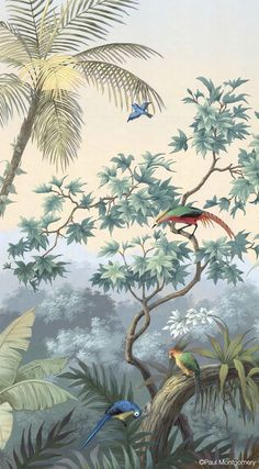 Exotic tropical plants fill a landscape of hills and waterways. Mural Art, Wall Murals, Wall Art, Wall Decor, Botanical Illustration, Illustration Art, Art Tropical, Tropical Plants, Jungle Art