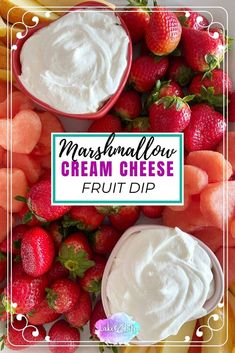 2 Ingredient Marshmallow Cream Cheese Snack Dip is the perfect dip to accompany fresh fruit, pretzels, graham crackers or even cookies. Learn how you can whip up this delicious dip in 5 minutes or less! Cold Dip Recipes, Spicy Recipes, Mexican Recipes, Healthy Recipes, Cake Pops, Diet Cheesecake Recipe, Cream Cheese Fruit Dip, Boat Food, Marshmallow Cream
