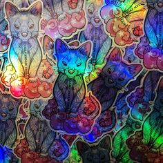 Holographic Sticker (half-transparent print) Have a look on it on my Instagram account or website to see how it looks like in different sourroundings: ITS HOLO EFFECT DEPENDS ON THE SURROUNDING LIGHT! #holo #holostickers #youkai #fox #cat #ferret #carsticker #laptopsticker #rainbowsticker #rainbow