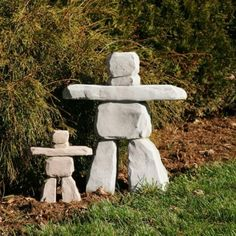 Inukshuk Small or Large available @ Dale's Landscaping Supply www. Rock Sculpture, Garden Sculpture, Statues, Design Plat, Landscaping Supplies, Rock Decor, Landscaping With Rocks, Stone Art, Yard Art