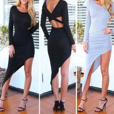 Sexy O Neck Long Sleeves Backless Asymmetrical Black Polyester Mini Bodycon Dress