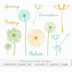 Dandelion Clipart Set 33 digital images by TheDutchLadyDesigns, $2.00